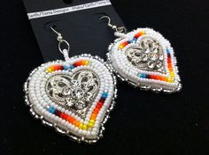 Native American Beaded Heart earrings by Oglalawin on Etsy, $30.00