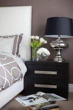 Flowers + bedside table