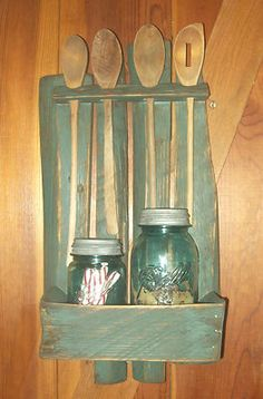 Primitive Wood Spoon Rack