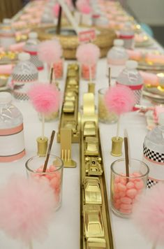 Evite Pink and Gold Racecar Party Guest Table