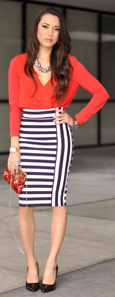 Just got this Bebe Striped Midi Skirt- looks cute w/The long sleeved silky -red blouse