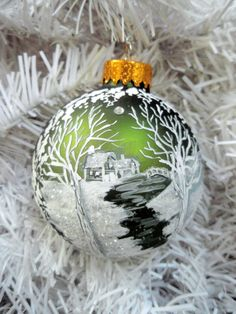 Personalized Painted Christmas Ball- Meandering Creek Snow Cabin by River, White Winter Landscape Handpainted Moss Green Glass Ball Ornament...