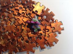 Copper and Gold Painted Jigsaw Puzzle Fish Platter by SJPuzzles