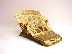 Victorian Stamp & Letter Rack Vintage Brass Spring by FillyGumbo