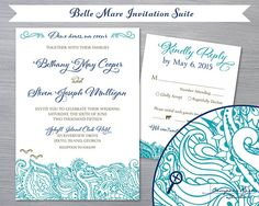 Beach Wedding Invitation Suite, Belle Mare Lace Waves by CompassRoseStudio