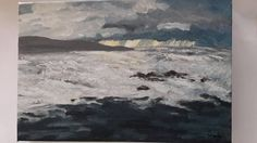 Acrylic on canvas seascape. My Etsy Shop, Canvas, Unique Jewelry, Handmade Gifts, Check, Painting, Vintage, Art, Tela
