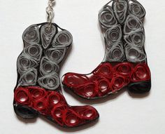 Quilling Gray and Red Western Boot Earrings by QuillingByBetty, $15.00