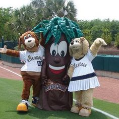 Charlie T. RiverDog, Bark, and Chelsea; Charleston RiverDogs mascots; South Atlantic League