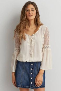 AEO Lace Inset Peasant Top  by AEO | Expose your inner boho with a romantic peasant top.  Shop the AEO Lace Inset Peasant Top  and check out more at AE.com.