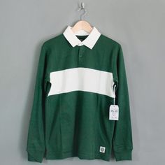 Obey Governor Long Sleeve Polo Shirt Forest Green with White band through the chest. - Penloe Ltd.