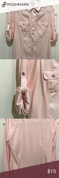 WHBM Beautiful Blouse Pink with silver tone buttons/97% Polyester/3% Spandex/Machine washable/see pics small spot between bottom second and 3rd buttons and on left sleeve (does not show when rolled up) White House Black Market Tops Button Down Shirts