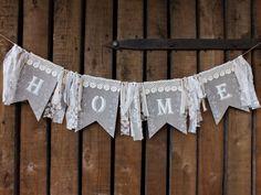 Home banner Home sign Rustic home decor by VintageLullabyDesign