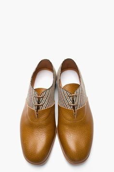MAISON MARTIN MARGIELA Tan Leather & Prince of Wales Check Oxfords