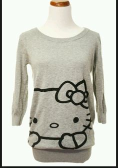 HM H&M HELLO KITTY sweater tunic rare black & gray Size 6 dress top  #HM #Crewneck