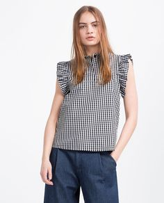 GINGHAM POPLIN TOP-View All-TOPS-WOMAN | ZARA United States
