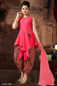 Pink Stylish Event Wear Sleeve Less Little Girls Patiyala Salwar Suit Simple Pakistani Dresses, Pakistani Fashion Casual, Indian Gowns Dresses, Indian Fashion Dresses, Indian Dresses For Kids, Stylish Dresses For Girls, Stylish Dress Designs, Dresses Kids Girl, Casual Dresses