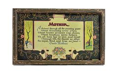 Vintage Framed Mother Poem Art Deco Carved Frame by PlumsandHoney