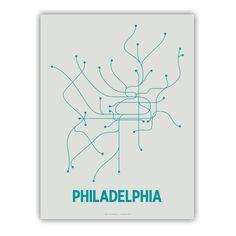 Philadelphia Line Poster - Light Gray/Teal