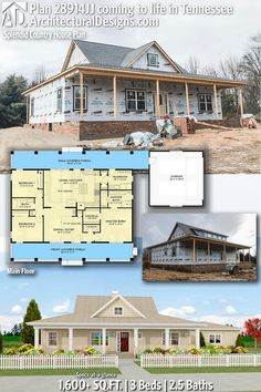 Architectural Designs Modern Farmhouse Plan client-built in Tennessee House Plans One Story, Barn House Plans, Ranch House Plans, Craftsman House Plans, Country House Plans, Dream House Plans, Modern House Plans, Small House Plans, Country Farmhouse