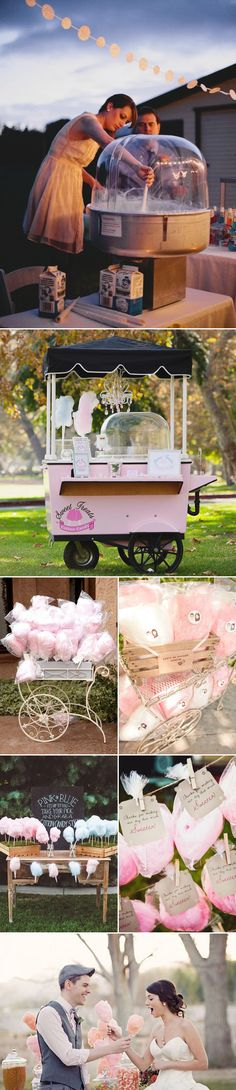 "Dessert tables are lovely because they are visually appealing and offer something that everyone loves. However, if you are looking for something extraordinary to ""get your guests involved"", dare to be different with alternative ideas that bring more variety and fun! Consider these alternatives in lieu of your traditional dessert bar!   Cotton Candy Station …"