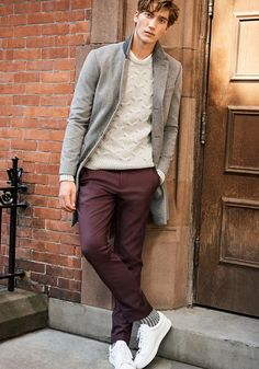 Today's Look: Coloured Chinos, Cable Knit. Photo: Club Monaco. #ootd #menswear #mensfashion #mensstyle #instafashion #overcoat #cableknit