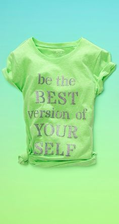 'Be the best version of yourself' | Girls' fashion | Girls' clothes | Glitter graphic tee | The Children's Place