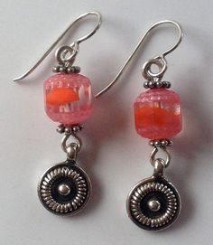 Handmade Vintage Pink and Orange Beaded and Sterling Silver Dangle Earrings by EnamelArtByLeslie on Etsy. Pink and orange earrings, orange earrings, pink earrings, dangle earrings, handmade earrings, handmade jewelry, handmade dangle earrings, vintage beaded earrings, vintage dangle earrings, handmade vintage earrings, sterling silver dangle earrings, sterling silver earrings
