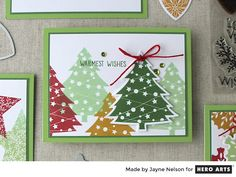 MMH November 2017 | I stamped a collection of decorated pine trees across the card front. I absolutely adore the size and shape of this cute Christmas tree. After making this card, I'm very anxious to make tree shaped gift tags for our presents this year.