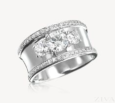 Wide Band 3-Stone Ring with Pave Trim  --15 year anniversary...
