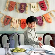 Give Thanks Banner – Letters on the banner are made from feathers, leaves, pieces of Indian corn and sticks. Great to hang outside a classroom during the Thanksgiving season! Under the banner could be writings the children have done about what they are most thankful for in their lives.