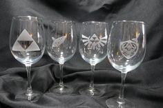 Zelda Glasses  Set of 4 Legend of Zelda by Etchingoodtimes on Etsy, $30.00