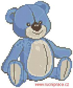 Teddy bear, free cross stitch patterns and charts - www.free-cross-stitch.rucniprace.cz