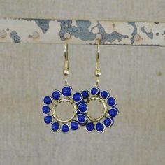 Beaded Sun Earrings - Blue