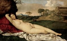 [NSFW] The Sleeping Venus also known as the Dresden Venus is a painting by the Italian Renaissance master Giorgione. It was completed after Giorgione's death in 1510 with the landscape and sky generally accepted to have been completed by Titian Renaissance Kunst, Renaissance Paintings, Italian Renaissance, Renaissance Artists, Google Art Project, Rembrandt, Venus Painting, Cave Painting, Art History