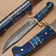 Custom Handmade Damascus Hunting Knife by oceanlink85 on Etsy, $65.00
