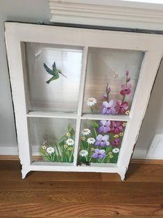 Old Window Art, Old Window Crafts, Old Window Panes, Old Window Projects, Faux Window, Diy Projects, Old Windows Painted, Painted Window Art, Antique Windows