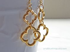 Double Clover Earrings. Gold Plated Quatrefoil. Bridesmaid Gift. Modern Simple Jewelry by Smallbluethings.