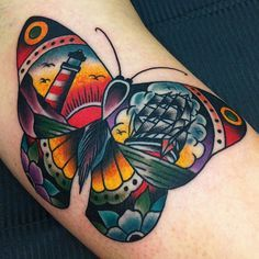Traditional style #butterfly #tattoo #ink