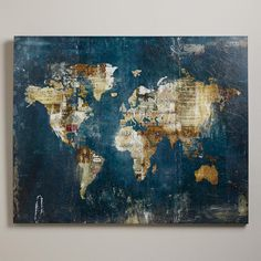 Newsprint, stamps and sheet music blend into the world map