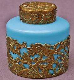 Superb Antique Gilt Bronze French Blue Opaline Glass Perfume Bottle Dresser Jar   eBay
