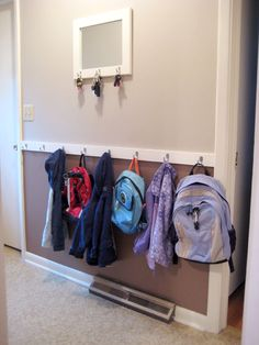 House Entrance Ideas Entryway Hooks 55 New Ideas Coat Closet Organization, Home Organization, Backpack Organization, Sports Organization, Dandy, Garage Entry, Front Entry, Door Entry, Entry Hallway