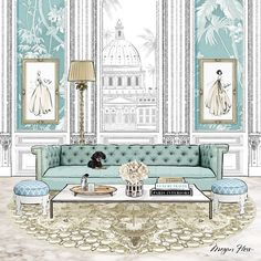 Illustration for the cover of ELLE DECORATION magazine. Soft pale blues, my gold Palazzo Jewels rug and 'Bonnie' the extra cute pooch on the sofa!