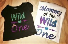 Wild One, First Birthday, Mother Daughter, Glitter, Purple and Teal, Wild One Birthday, Mommy of the wild one, Mother of the birthday girl by BandBBabytalk on Etsy