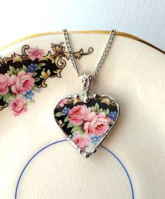 Broken china jewelry heart shaped necklace pendant antique soft pink roses and forget me nots