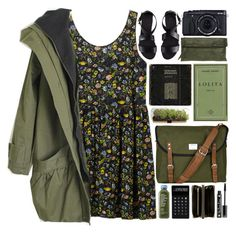 """""""green peace calms the heart"""" by eliza-lily ❤ liked on Polyvore featuring Monki, Sandqvist, Gianni Chiarini, LEXON, NYX, Comme des Garçons, Fujifilm, H&M, comfort and peace"""