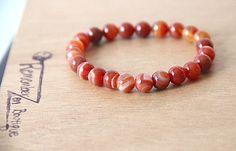 <h3>Genuine Carnelian Natural Healing Crystal Rhinestone Bracelet , Meditation Yoga Jewelry </h3>