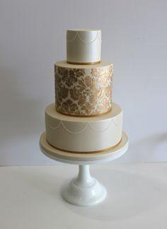 """Faye Cahill Cake Design """"gold damask"""""""