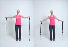 """""""Arm press"""" – Keep the arms slightly bent and have the body resemble a """"T"""". Straighten the back and lower the shoulders. Hold each palm on top of the pole and press down. Keep in mind to only be moving your arm muscles. Press down 15-20 times, take a break and repeat. Good luck!"""