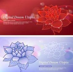 蓮花夢紅色和藍色的背景