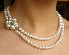 Vintage Pearl Bridal Necklace, Pearl Wedding Jewelry, Rhinestone Flower, Ivory Bridal White Swarovski Pearls, MARIE Collection. $98.00, via Etsy.